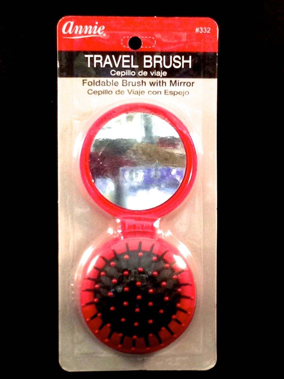 "ANNIE TRAVEL BRUSH FOLDABLE WITH MIRROR ROUND 5.5""x2.5"" #332"