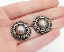 925 Sterling Silver  - Vintage Circle Pattern Dome Button Drop Earrings ... - $27.97