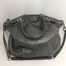 Coach Shoulder Handbag Madison Lindsey Gray Croc Embossed Leather Satche... - $189.99