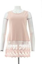 Kathleen Kirkwood Layering Tank Scallop Lace Extender Dusty Rose XS NEW ... - $28.69