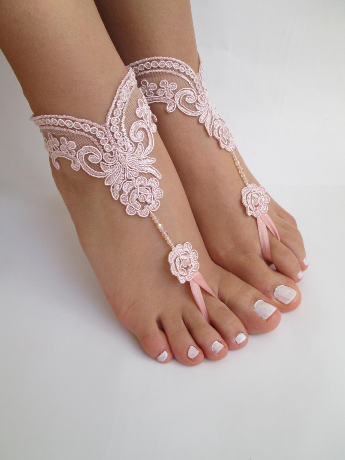 Beach Wedding Barefoot Sandals Bridal Pink Beach Sandals
