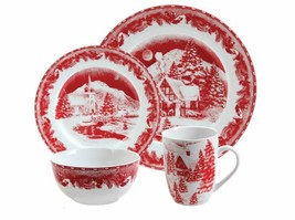 NEW! Christmas Dinnerware Set Bowl Plate Dishes Mug Kitchen Table Red 16PC - $104.63