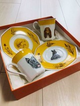 Hermes Porcelain Cup Saucer Tableware 2 set Dog English Setter Yellow Au... - £312.35 GBP