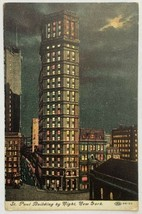 Old Divided Back Postcard 1910s St. Paul Building By Night, New York Unp... - $14.65