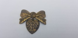 Vintage Antique Brass Ribbon Pin / Brooch With Hanging Heart Detailed In... - $9.62
