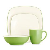 Springtime Square Apple Green  Stoneware China Dinnerware  4-Piece Set - $69.99