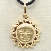 18K YELLOW GOLD ROUNDED SUN CHARM PENDANT, TWO FACES, SMOOTH SATIN MADE IN ITALY image 1