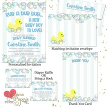 Duck Rubber Duck Bubbles Blue Baby Shower Invitation Set thank you diape... - $1.75+