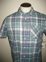 Vans Shoes Mens SS Button up 1 pocket Green Plaid Shirt size Small Free Ship NWT - $34.64