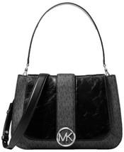 Michael Kors Lillie Signature Polished Top-Handle Satchel (Black/Silver) - $320.00