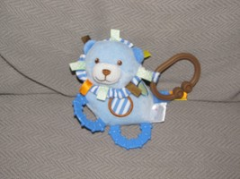 PRESTIGE STUFFED PLUSH BLUE BROWN LION RING LINK CLIP LOOP BABY RATTLE TOY - $34.64