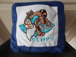 """Disney Sleepy Dwarf 7 Dwarves Plush Pillow W Zip 8.5"""" Square Vgc Cute - $10.36"""