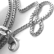 18K WHITE GOLD CHAIN 1.2 MM SQUARE FRANCO LINK, 16 INCHES, 40 CM MADE IN ITALY image 4