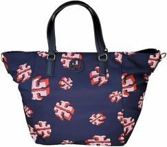 Tory Burch Womens Navy Blue Pink Flying Logo Nylon Tilda Tote Bag Purse ... - $225.72