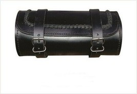 """10"""" Black Braided Round Real Cowhide Leather Tool Bag For Harley Davidson - $37.36"""