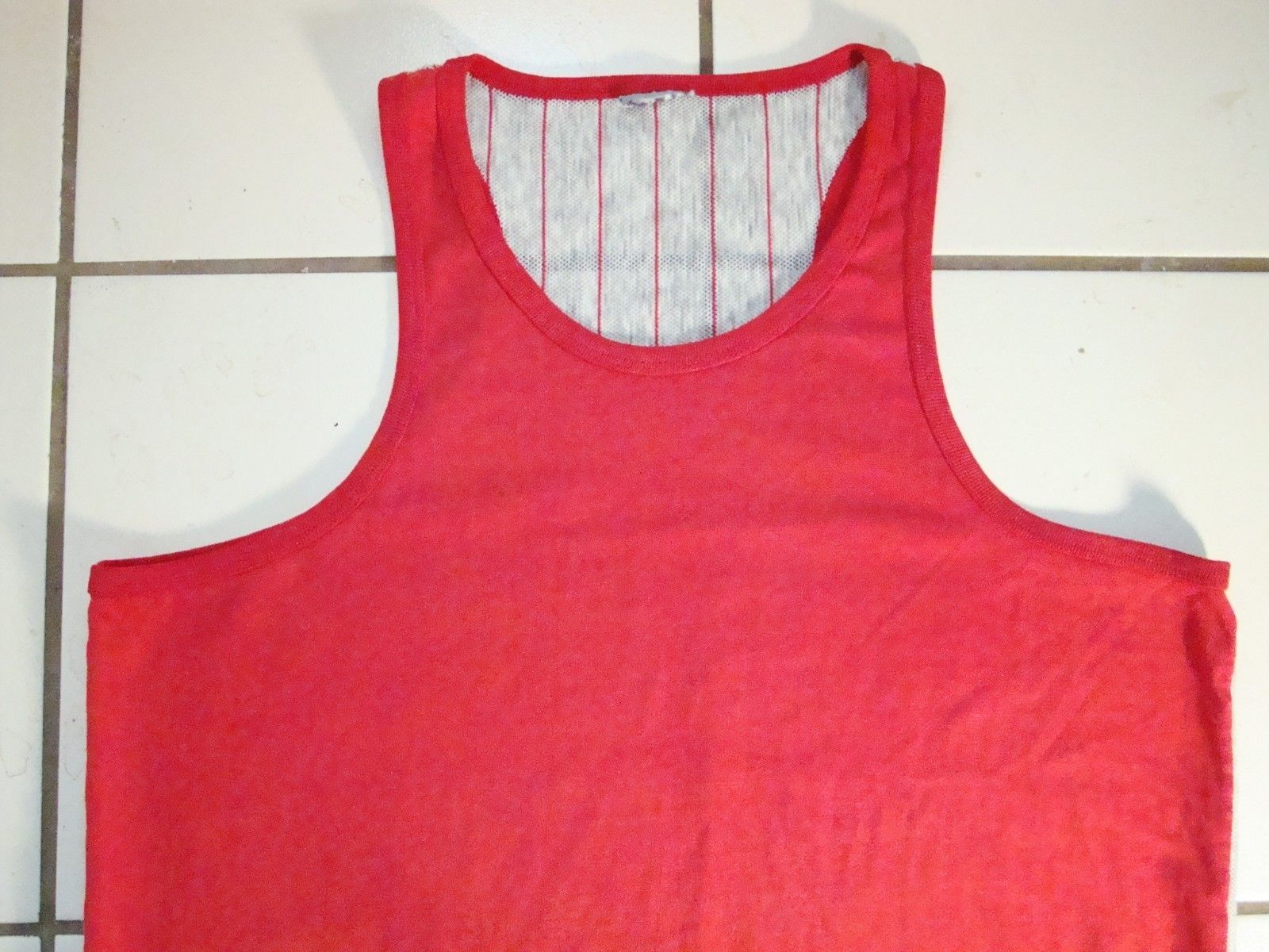 Primary image for Vintage Simple Sports Tank Top Sleeveless Netted Back T Shirt L