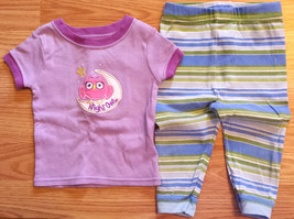"Girl's Size 9-12 M Months 2 Pc Purple ""Night Owl"" Top, Striped Pants Paj... - $10.00"