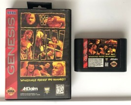 ☆ Wwf Raw (Sega Genesis 1994) Rare Authentic Wwe Game Cart & Case Tested Works ☆ - $17.99