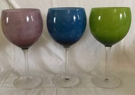 3 Balloon Wine Goblets Clear Stems BLUE Green Amethyst DIMPLED Dotted Gl... - $29.69