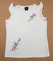 THE CHILDRENS PLACE GIRLS L 10 12 STRETCH TOP WHITE FLORAL FLOWERS FLUTT... - $10.93