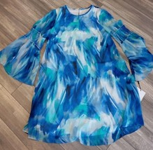 Calvin Klein Women's Long Sleeved Chiffon Printed Shift Dress SZ-6/Color... - $59.00