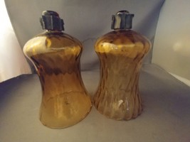 HOMCO Home Interiors Vintage Glass Votive Cup Candle Holder TALL Amber P... - $9.75
