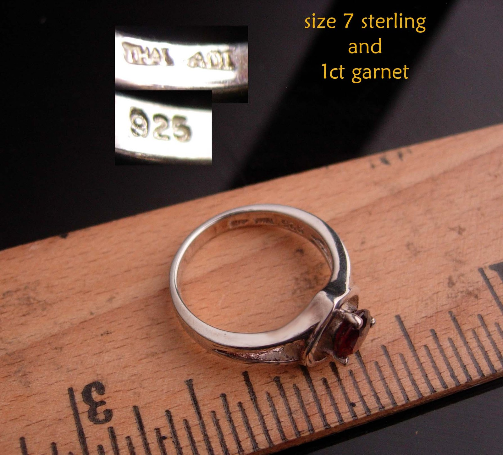 Sterling 1ct GARNET Ring - Sweetheart gift - red heart ring - Size 7 - vintage s image 5