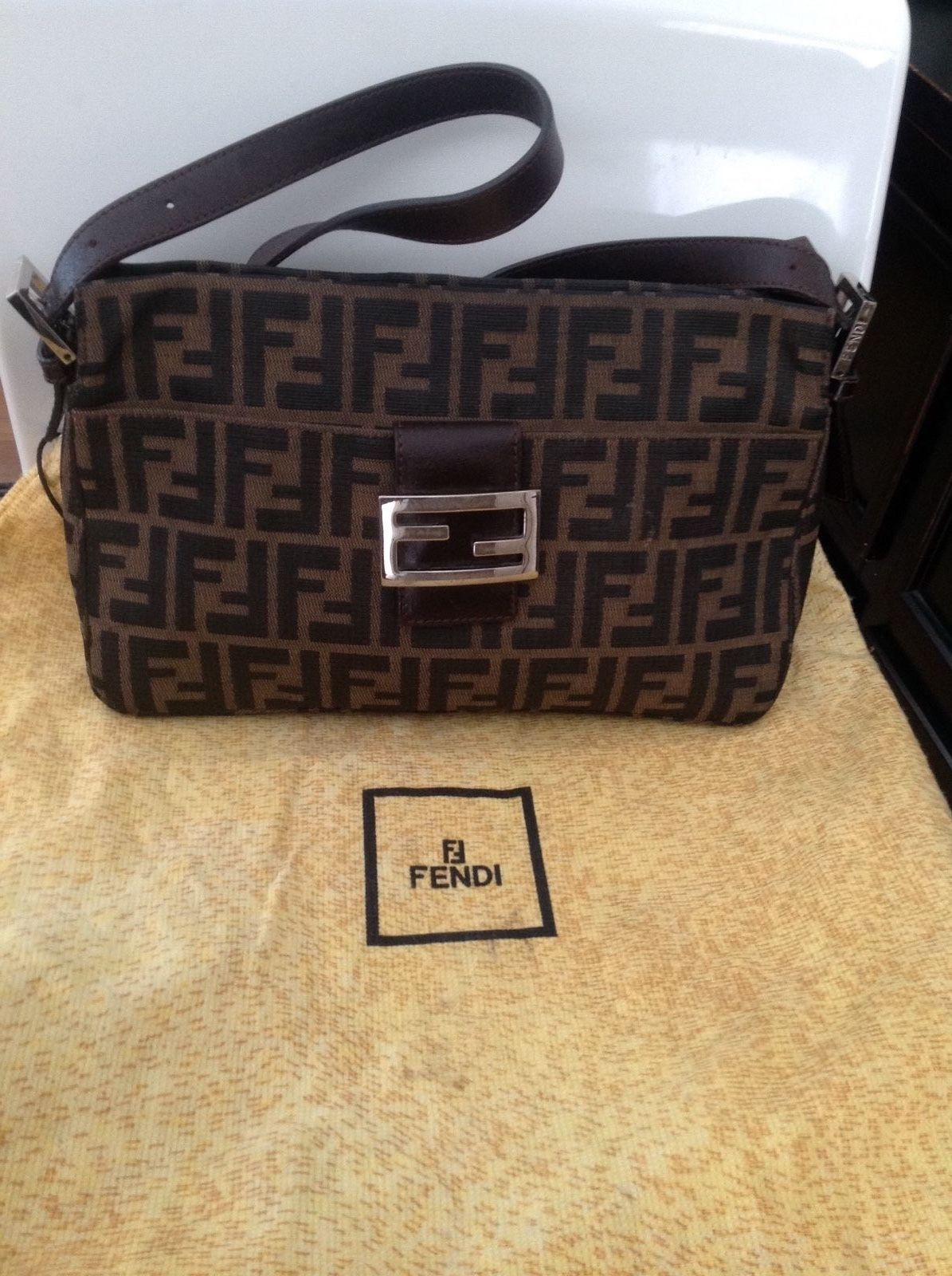 d1cb45317e3 ... authentic auth fendi zucca monogram signature purse original dust bag  vgc brown nero med 158.39 bd9a7 ...