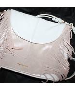 VERA BRADLEY Fringed Meredith Crossbody White Gold Metallic Leather PURS... - $139.04