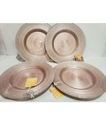 x4 TURKISH DELIGHTS BLUSH PINK SILVER SPARKLE GLASS DINNER PLATES EASTER - $64.99