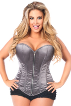 Top Drawer Gunmetal Plus Size Corset Top Overbust Style - $74.99