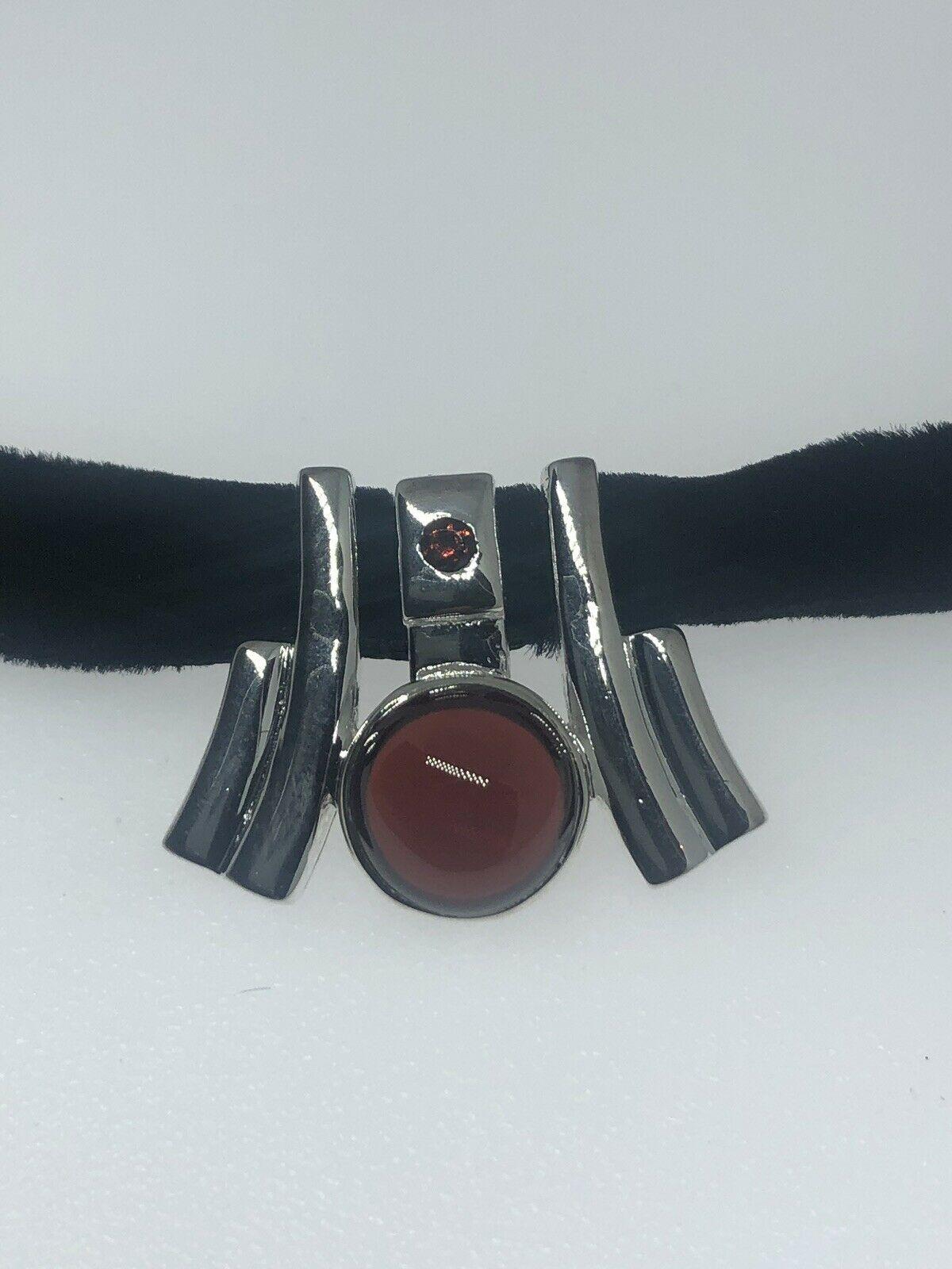 Vintage Red Garnet Deco Choker 925 Sterling Silver Necklace
