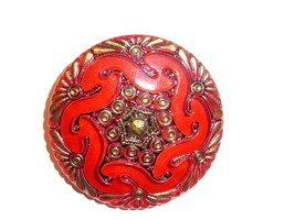 Pretty Red w/ Gold & Black Czech Hand Painted Lacy Glass Shank Button - ... - $12.49