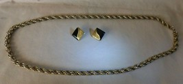 "Vintage Goldtone Continuous Twisted Hammered Links 30.5"" Chain & Square Earrings - $35.00"