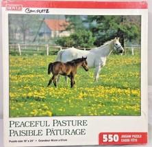 Hoyle 550 Piece Vintage Jigsaw Puzzle Peaceful Pastures Horse Pony Field... - $11.65