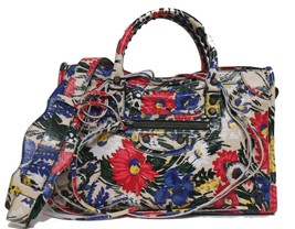 New Balenciaga Small Classic AJ City Arena Leather Floral Beige Messenge... - $1,664.04