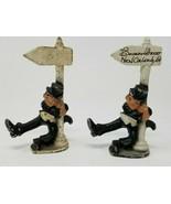 2 Drunk Hanging on Light Pole Cast Iron Bourbon Street Figurines New Orl... - $10.88