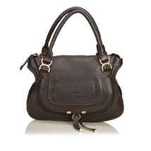 Pre-Loved Chloe Brown Dark Others Leather Marcie Handbag Italy - $704.49