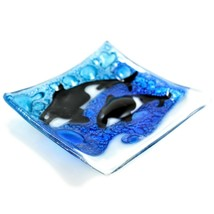 Fused Art Glass Sea Ocean Orca Killer Whale Square Soap Dish Handmade Ecuador image 2