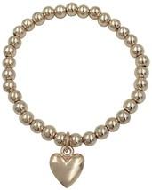 BellaMira 18K Rose Gold Plated Heart Charm Bead Bracelet Stretch Adjustable For - $53.56