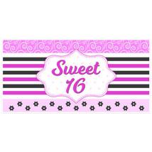 Pink and Black Striped Sweet 16 Sixteen Birthda... - $22.50