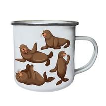 Sea lion four poses illustration Retro,Tin, Enamel 10oz Mug g813e - $13.13