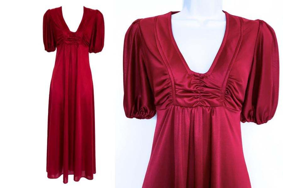 70s Vintage Penelope Peep Sangria Red Smooth Slinky Jersey Boho Festival Maxi Dr