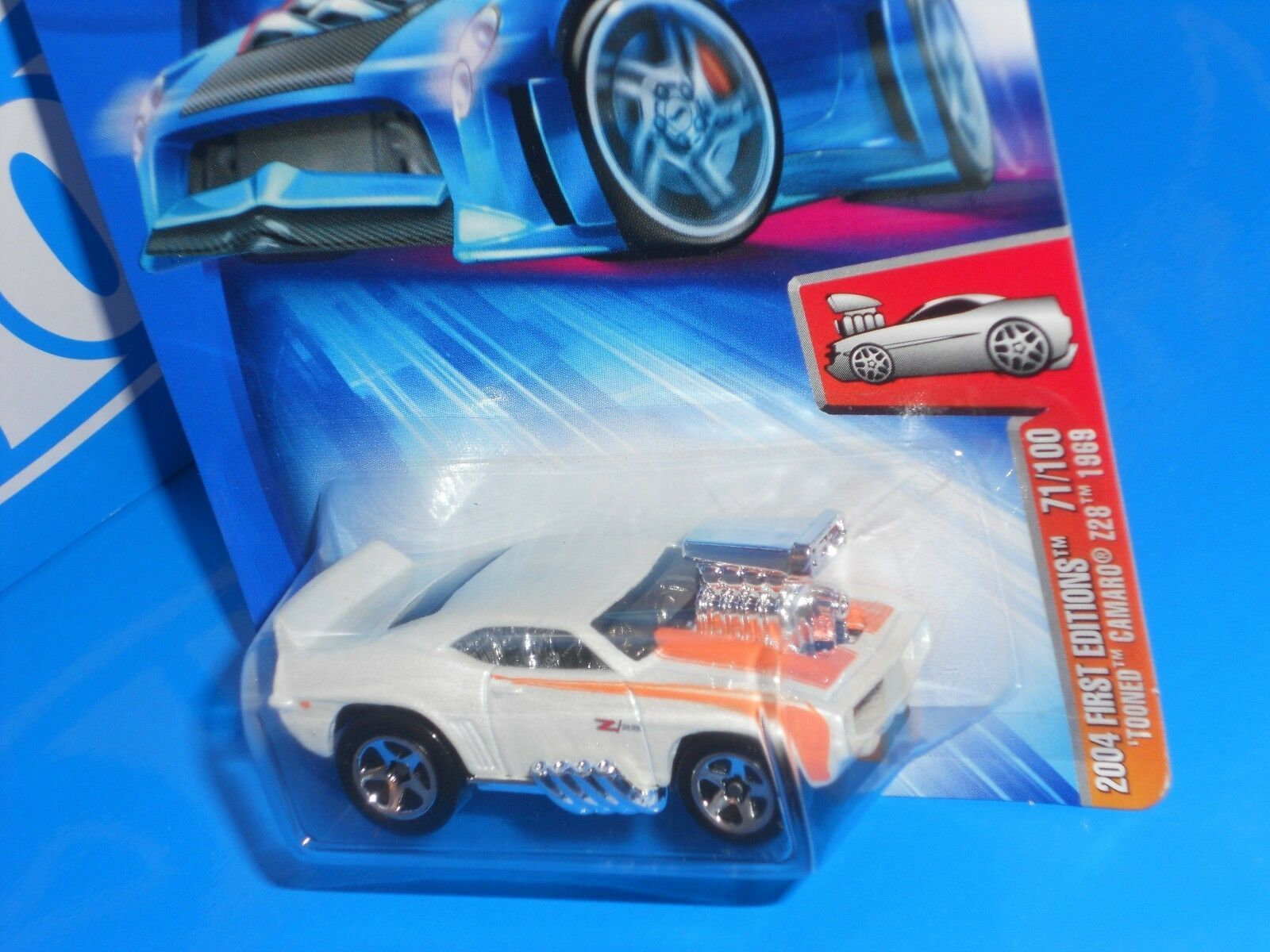 Hot Wheels 2004 First Editions #71 'Tooned Camaro Z28 1969 Kmart White w/ 5SPs image 2