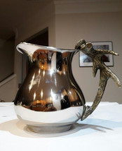 "Vintage Silver Water / Milk Pitcher with brass antler handle 9"" x 5"" x 7"" Very r - $195.00"