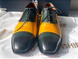 Handmade Men's Yellow & Green Leather Brogues Lace Up Dress/Formal Oxford Shoes image 3