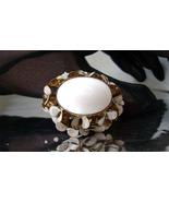 Vintage Milk Glass Enamel Gold Tone Brooch Signed Continental 1960s - $21.00