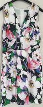 Ralph Lauren Dress Floral V-Neck Sleeveless Silky Ruched Empire Waist Sz... - $27.99