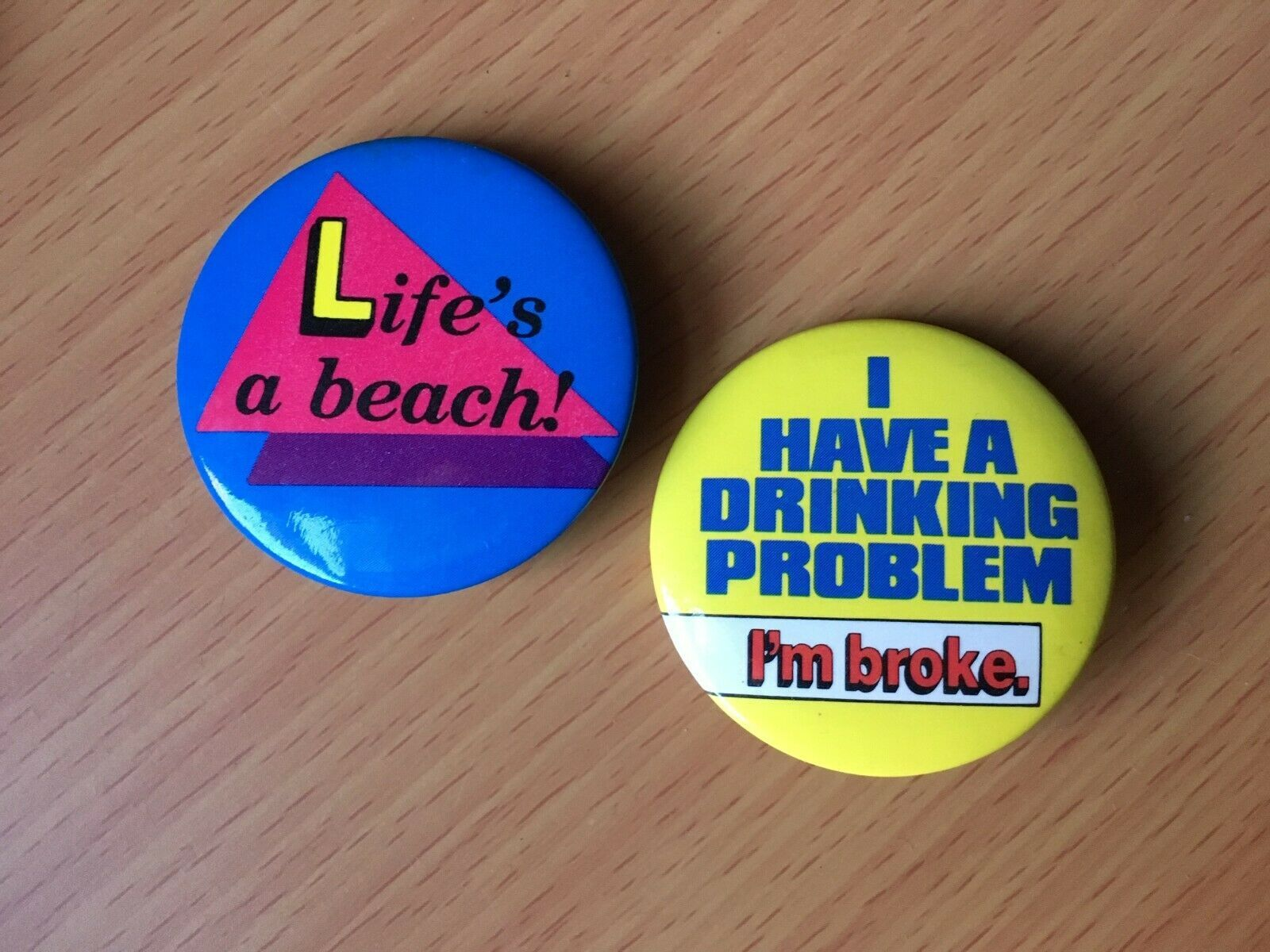 """2 retro vintage pins jewelry accessories from 1980s, """"Life's a Beach"""" """"Drinking - $25.00"""