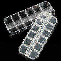 12 Grid Nail Art Clear Plastic Rhinestone Bead Storage Empty Case Contai... - $7.70